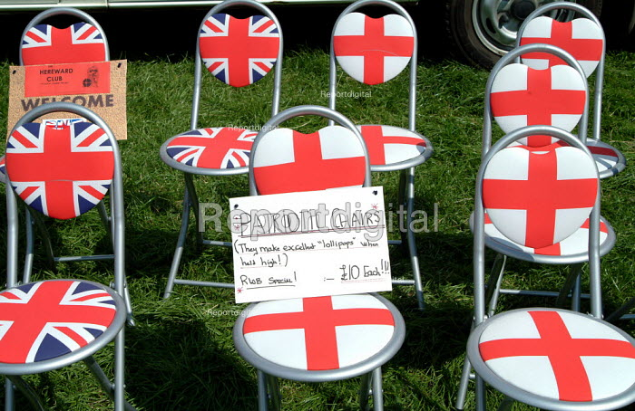 "'Patriotic chairs' for sale, British National Party ""Red, White & Blue"" festival, Sawley, Lancashire. - James Jenkins - 2003-08-16"