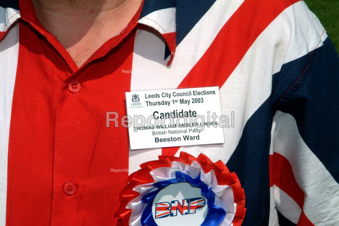 "BNP Leeds candidate Thomas Linden, British National Party ""Red, White & Blue"" festival, Sawley, Lancashire. - James Jenkins - 2003-08-16"