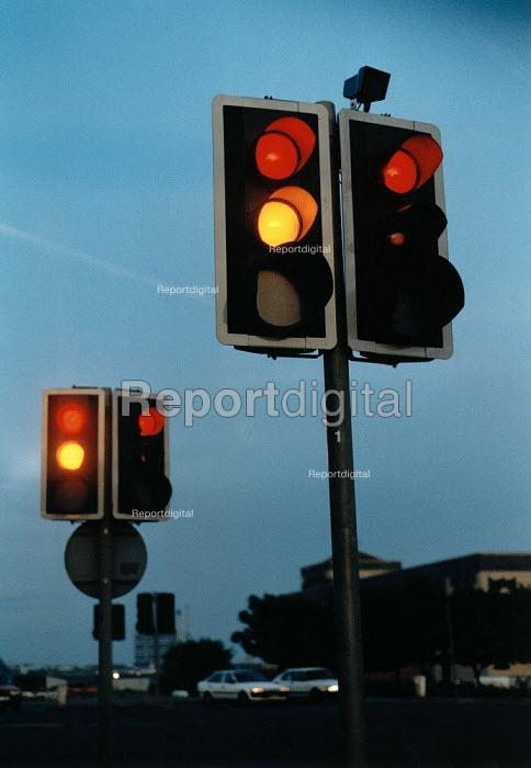 Traffic lights on a route into the city centre. - Paul Carter - 2007-11-02