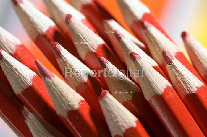 Red colouring pencils, in a Maths lesson at a secondary school. - Paul Carter - 2007-07-10