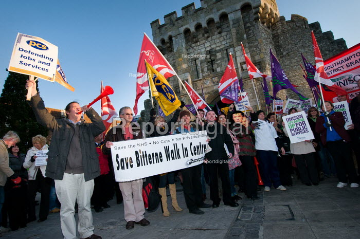 Protestors with palcards and flags at a demonstration against the cuts organised by the Southampton Trades Council. � - Paul Carter - 2010-10-20