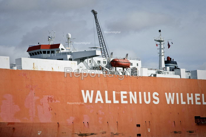 The Wallenius, Wilhelmsen vehicle carrier Tagus, Southampton Docks. A Pure Car and Truck Carrier (PCTC) Roll-on, Roll-off (RoRo) vessel - Paul Carter - 2009-10-26