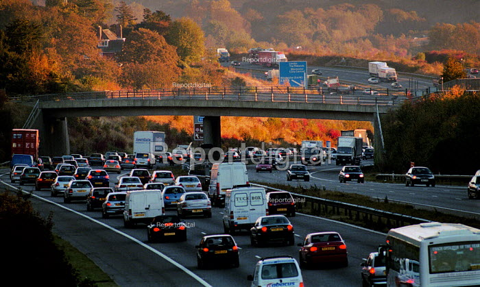 Traffic on a busy motorway. - Paul Carter - 2002-10-17