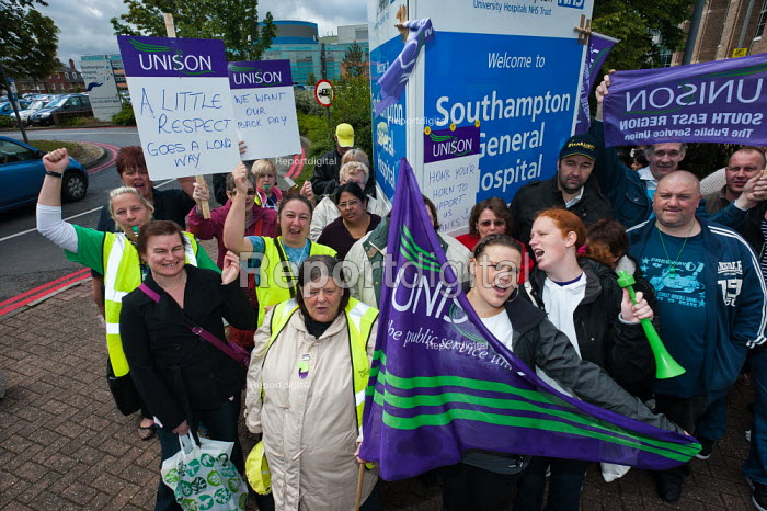 250 cleaners, members of Unison, working for Medirest at Southampton General Hospital picket the hospital at the start of a 7 day strike. Strikes against council austerity cuts, Southampton - Paul Carter - 2011-06-13