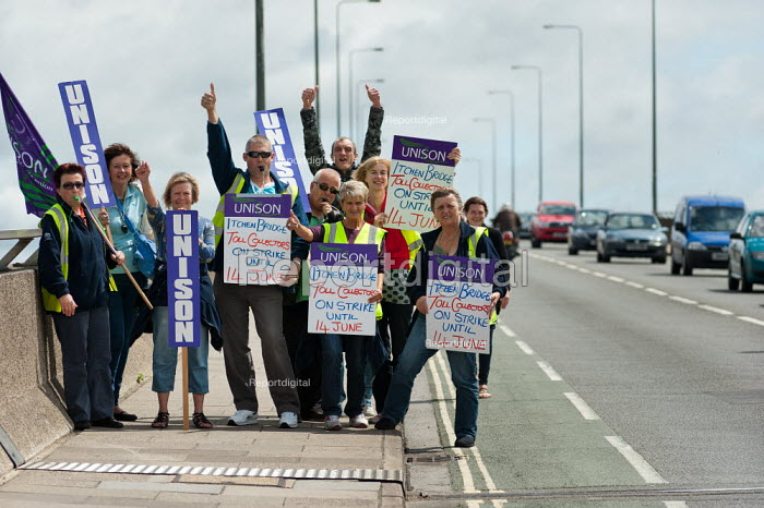 Striking Southampton Itchen Bridge toll collectors on the bridge with placards and flags. Strikes against council austerity cuts, Southampton � � - Paul Carter - 2011-06-13