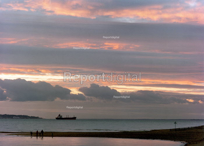 Family walking on a beach. Sunset with a cargo ship silhouetted on the horizon. - Paul Carter - 1999-01-28