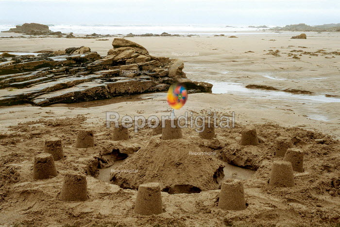 Sand castle on an isolated empty beach, North Cornwall. - Paul Carter - 1997-08-21