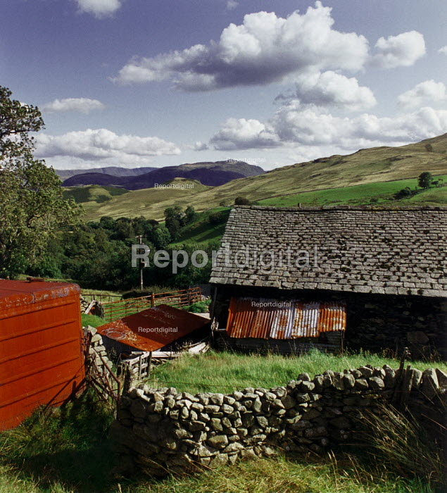 Farm buildings on a hillside in The Lake District. - Paul Carter - 1992-08-24