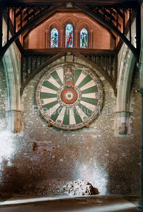 King Arthur's Round Table with stained glass windows above and the remains of the dias below. The Great Hall, Winchester. - Paul Carter - 1999-02-08