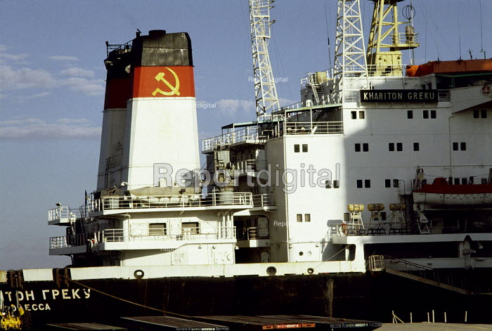 Russian container ship. - Paul Carter - 1989-02-25