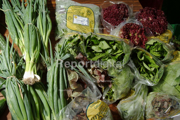 Organic salad vegetables ready for sale at a local farmers market. - Paul Carter - 2003-08-16