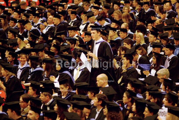 Students waiting to receive their certificates, graduation ceremony Brighton Centre - Paul Carter - 2003-08-01
