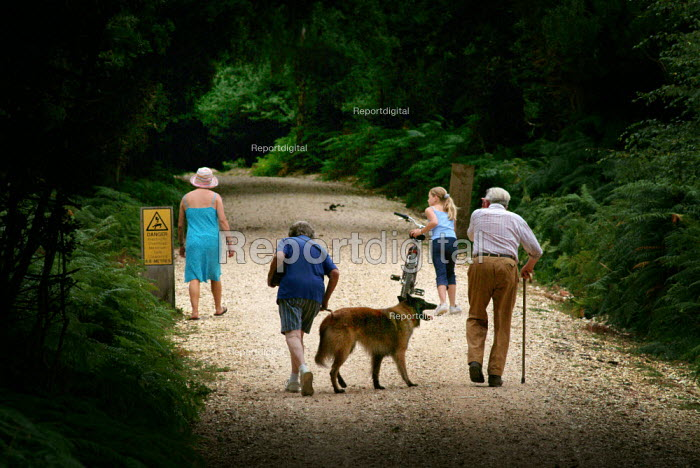 Walkers on a gravel path near Fritham, the New Forest. - Paul Carter - 2003-08-17