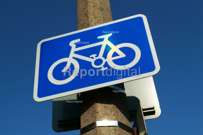 Bright blue cycle lane road sign. - Paul Carter - 2003-09-04