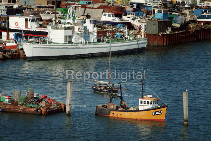 Fishing boats, moored on the River Itchen, Hampshire. - Paul Carter - 2003-09-09