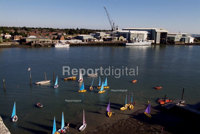 Sailing boats of the waters edge, with industrial docks behind. - Paul Carter - 2003-09-24