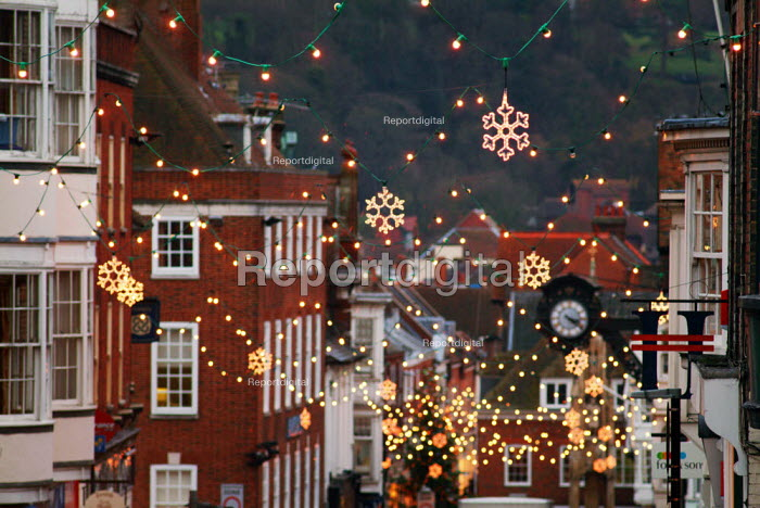 Decorative Christmas lights in a city high street. - Paul Carter - 2003-11-28