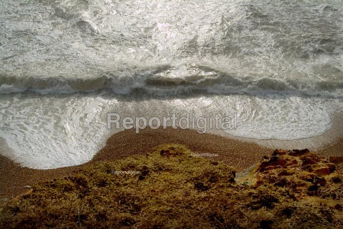 Stormy sea on the coastal path between Barton on Sea and Milford on Sea, Hampshire. - Paul Carter - 2003-10-02