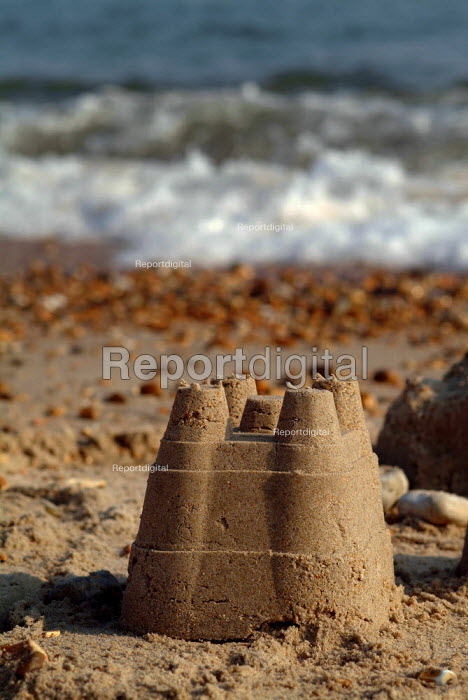 A sand castle on the beach at Milford-on-Sea, Hampshire. - Paul Carter - 2003-05-29