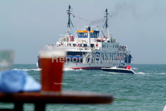An Isle of Wight WhiteLink ferry coming into port at Yarmouth. As seen from a pub garden. - Paul Carter - 2004-07-27