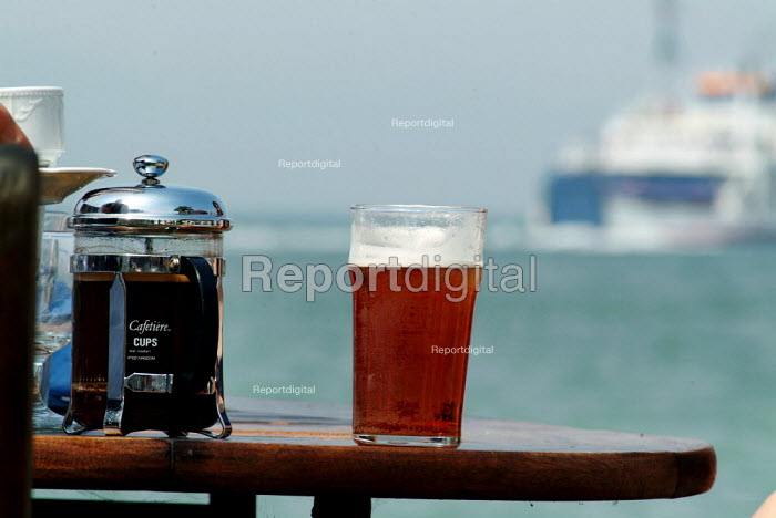 A pint of beer and on a table in a pub garden. - Paul Carter - 2004-07-27