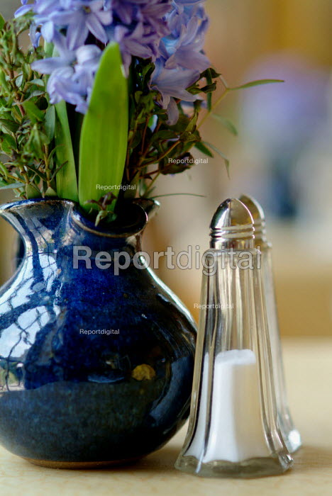 A brightly coloured jug of flowers on a cafe table, next to a salt and pepper pot. - Paul Carter - 2004-07-27