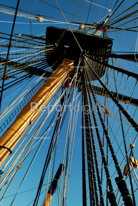 Looking up the mast and rigging of HMS Victory, Portsmouth. - Paul Carter - 2003-06-13