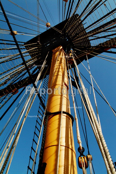 Looking up a mast of HMS Victory, Portsmouth. - Paul Carter - 2003-06-13