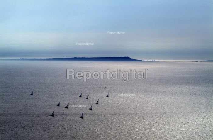 Looking over a still sea towards the Isle of Portland. Near Chapman's Pool and Kimmeridge. Dorset. - Paul Carter - 2004-08-03