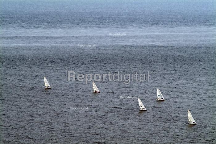 Sailing boats on a still sea.  Near Chapman's Pool and Kimmeridge. Dorset. - Paul Carter - 2004-08-03