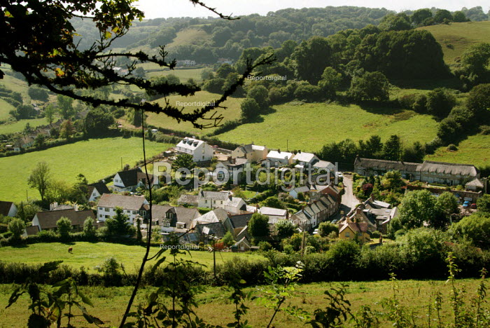 Looking down to the village of Branscombe, Devon, nestled in a green valley. - Paul Carter - 2004-09-17