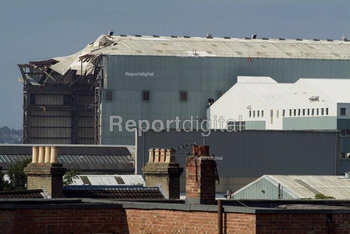 The main shed of Vosper Thornycroft shipyard partly demolished. Southampton. - Paul Carter - 2004-08-10