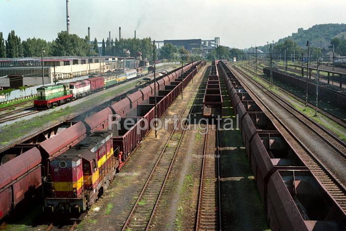 Empty goods trains used for transporting coal. Near Ostrava, Moravia, Czech Republic - Paul Carter - 2003-08-18