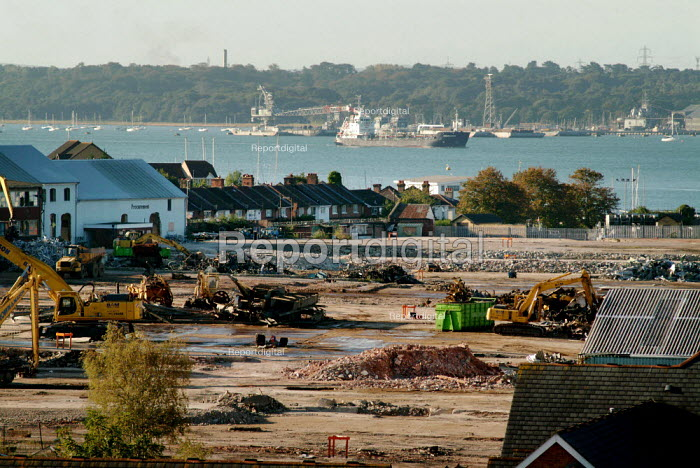 Vosper Thornycroft shipyard, partly demolished. Making way for a large development of 1,500 new homes. On the River Itchen, Southampton. - Paul Carter - 2004-09-24