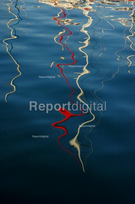 Reflections of yacht masts in Brighton Marina. - Paul Carter - 2004-09-04
