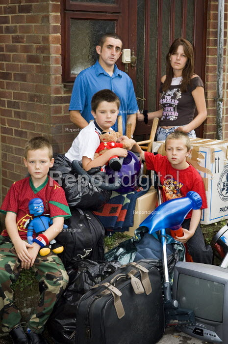 Family are evicted from their house and forced into homelessness because they couldn't keep up with the mortgage payments after both became ill and lost their jobs. - Paul Carter - 2006-09-29