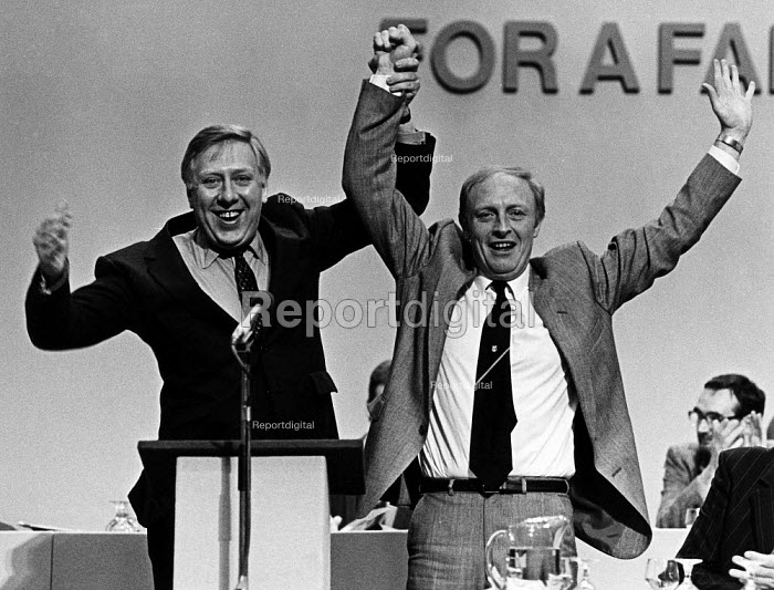 Roy Hattersley and Neil Kinnock celebrate leadership victory, at Labour Conference. - John Sturrock - 1983-10-02