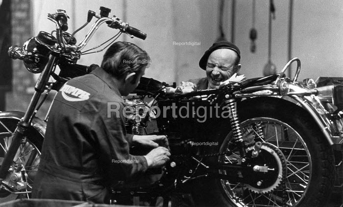 Triumph motorcycles being made at the Meriden factory. Meriden Motorcycle Cooperative - John Sturrock - 1974-07-19