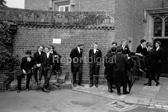 Boys waiting for roll call, Fourth of June Ceremony, Eton College 1990 - John Sturrock - 1990-06-04