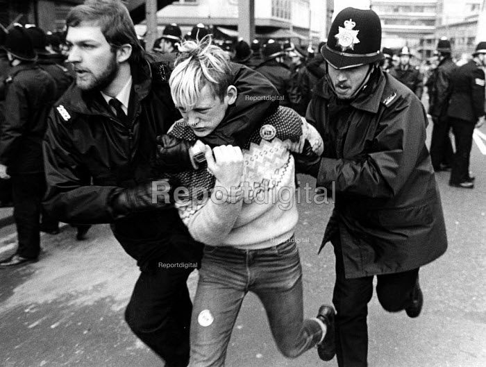 Police arrest a striking miner. Lobby by striking miners of an NUM Special Delegate Meeting held at Yorkshire NUM Hqs, called to determine whether the localised dispute should become a national strike of NUM members. - John Sturrock - 1984-04-19