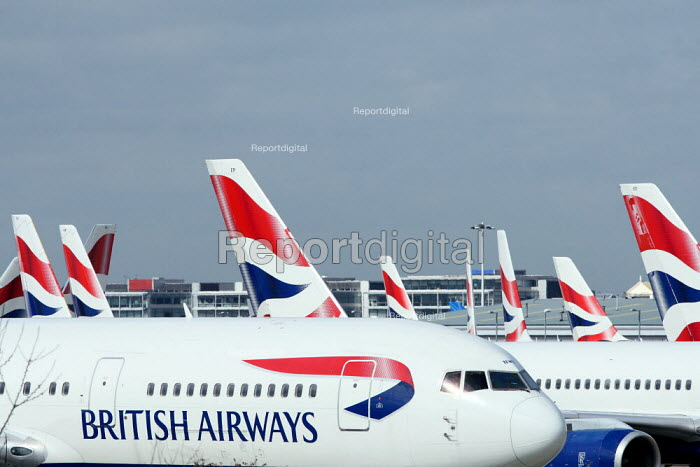 Large numbers of grounded BA planes build up at Heathrow... - Justin Tallis, JT1003153.JPG