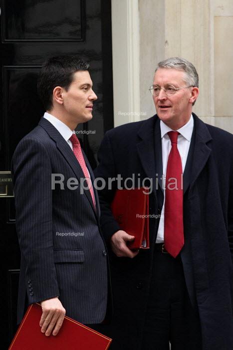 David Miliband MP and Hilary Benn MP leaving Downing Street on Budget Day. London. - Justin Tallis - 2010-03-24