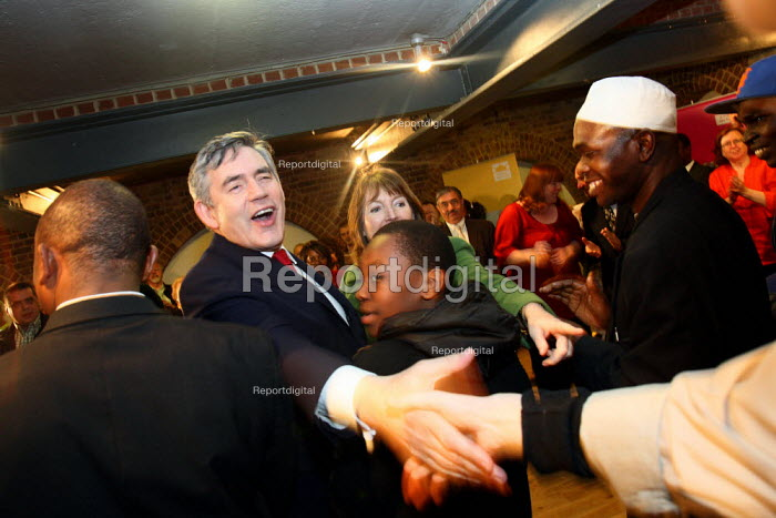 Prime Minister Gordon Brown greeting supporters at a... - Justin Tallis, JT1005050.JPG