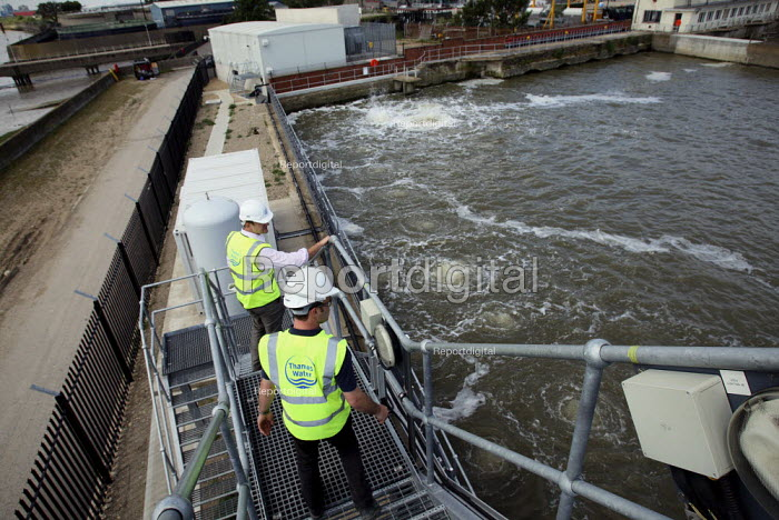 Workers look over salinity tanks at Thames Gateway Water... - Justin Tallis, JT1006077.JPG