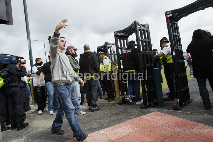 Metal detectors in place at the English Defence League... - Justin Tallis, JT1008416.JPG