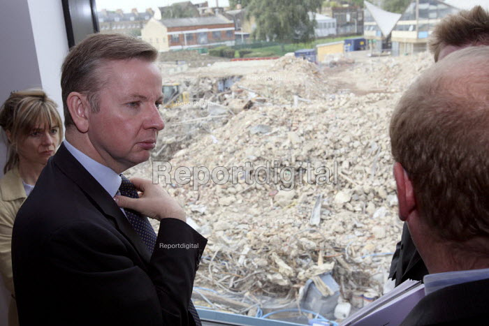 Michael Gove MP looking at old demolished school grounds... - Justin Tallis, JT1009209.JPG
