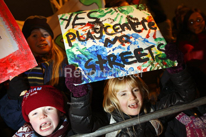 Children demonstrate over play centre closures at a protest of local residents and trade unions outside Camden Town Hall as the council meets to consider proposals to cut spending in public services. London. - Justin Tallis - 2010-12-01