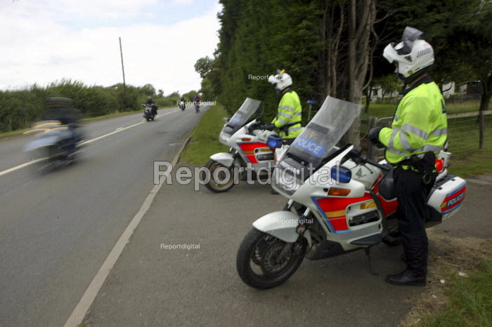 A large police presence outside the 22nd annual Bulldog Bash motorcycle gathering in Long Marston. One year after the murder of Gerry Tobin, who was shot dead riding home. - Justin Tallis - 2008-08-07