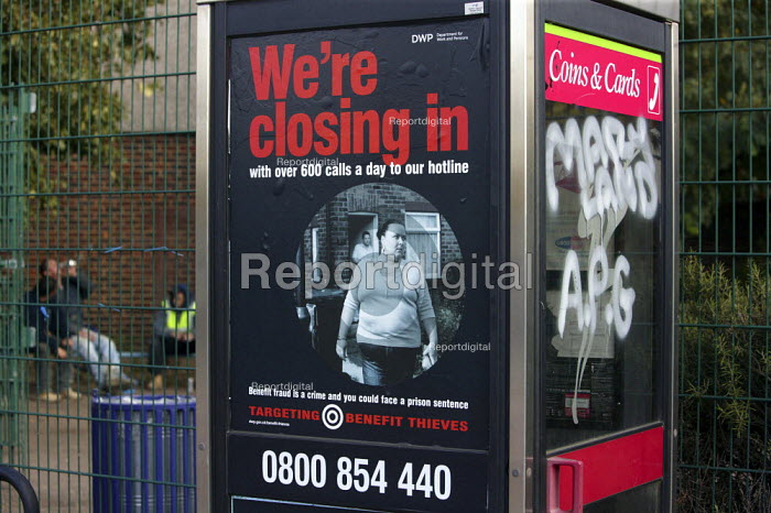 Report Digital Photojournalism A Crimestoppers Benefit Fraud Advertisement Targeting Benefit Thieves And Inviting The Public To Call The Hotline And