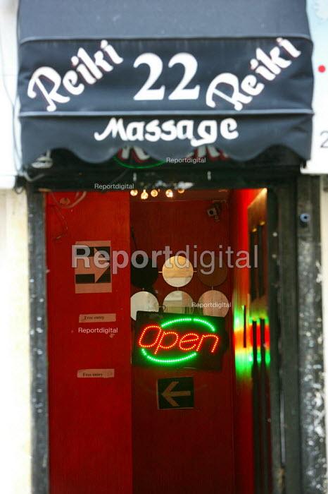 Reiki massage parlor. Soho, London. - Justin Tallis - 2009-06-11